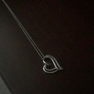 Diamond heart necklace in sterling silver